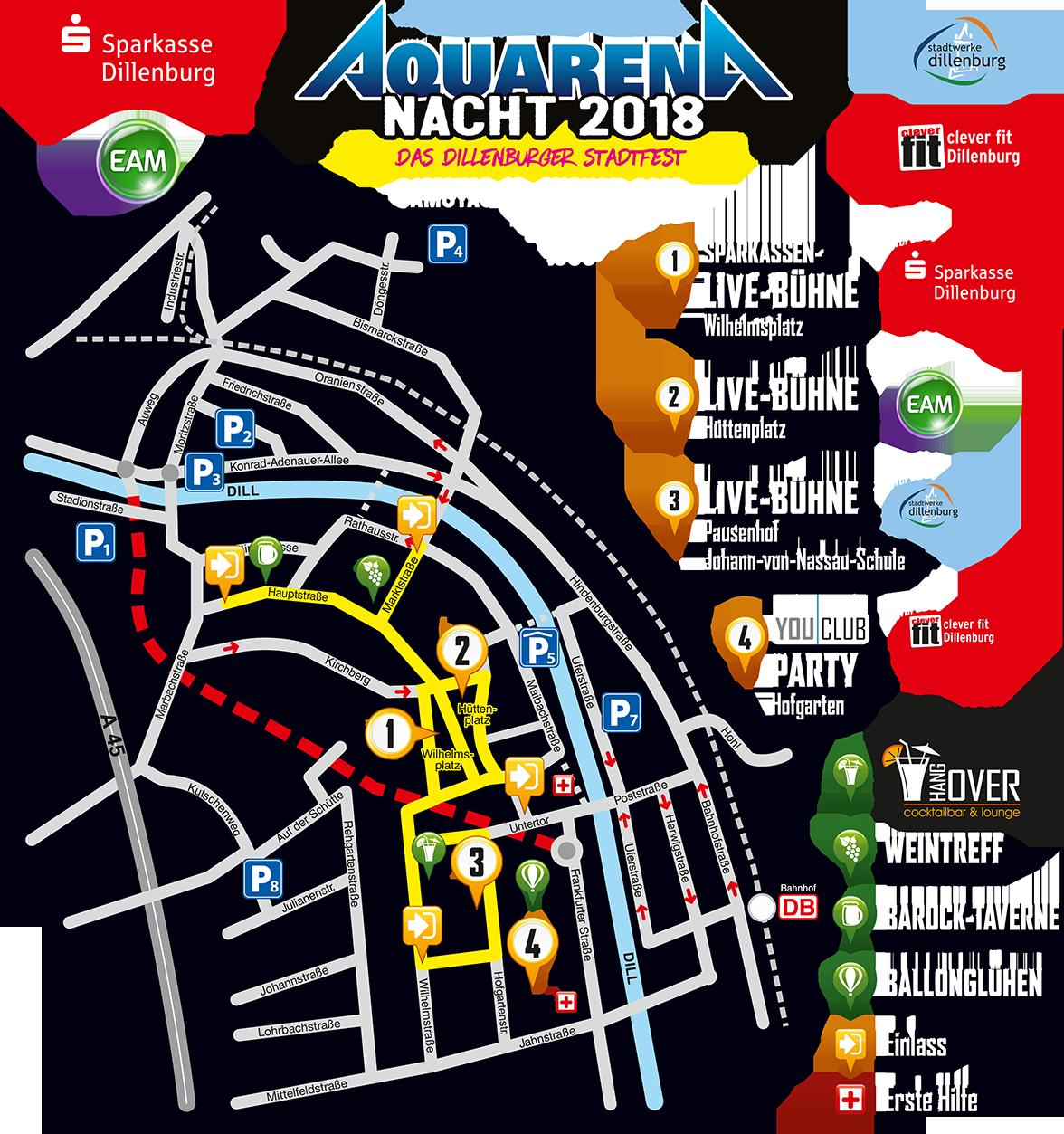 Lageplan Aquarena-Nacht 2018